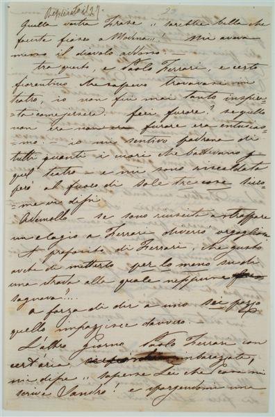 lettera spedita da Sanchioli ad Ademollo